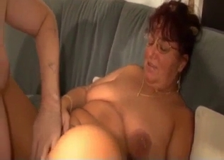 Fat son cums on his big-boobed fat mom