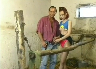 Adorable sex angel sucks her daddy's dick in barn