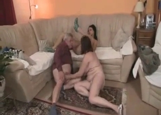 Grandpa's dick in granddaughter's mouth