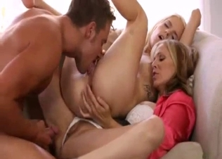 Dirty 3some incest with mom and daughter