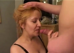 Cock-addicted MILF pleases her own son