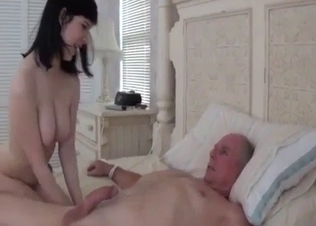 Black-haired niece rides her granddad's dick