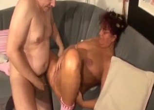 Mom and fat son fucks in doggy style pose