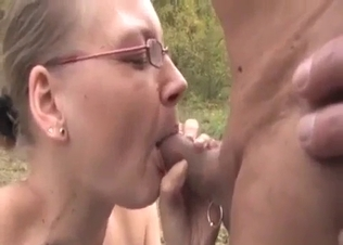 Hot outdoor sex with a nerdy busty stepdaughter
