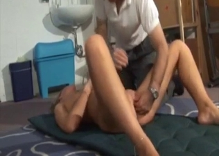Daddy licks his stepdaughter's shaved pussy