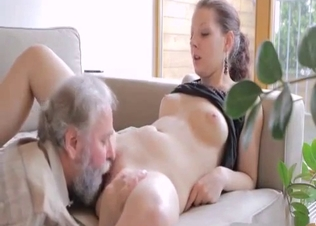 Old man gives a cunnilingus for a grandfather