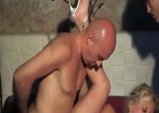 Two men with big cocks and a slutty naked mom