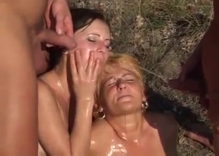 Two dick-sucking sisters fucked by relatives