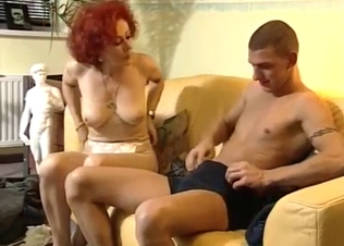 Redhead mom slowly swallows her son dick